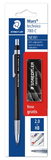 Staedtler pencil 2mm sort inkl.viskelæde